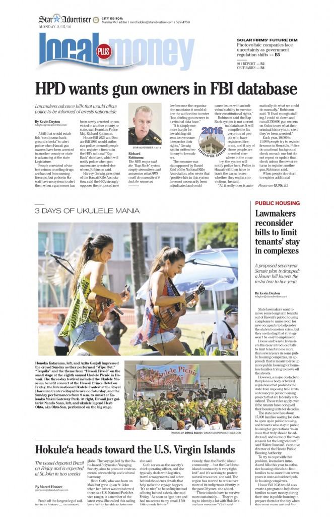 Honolulu Star-Advertiser for Ukulele Picnic 2.15.16